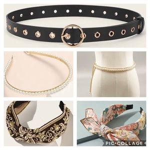 SHEIN Accessories Bundle w/ headbands and belts